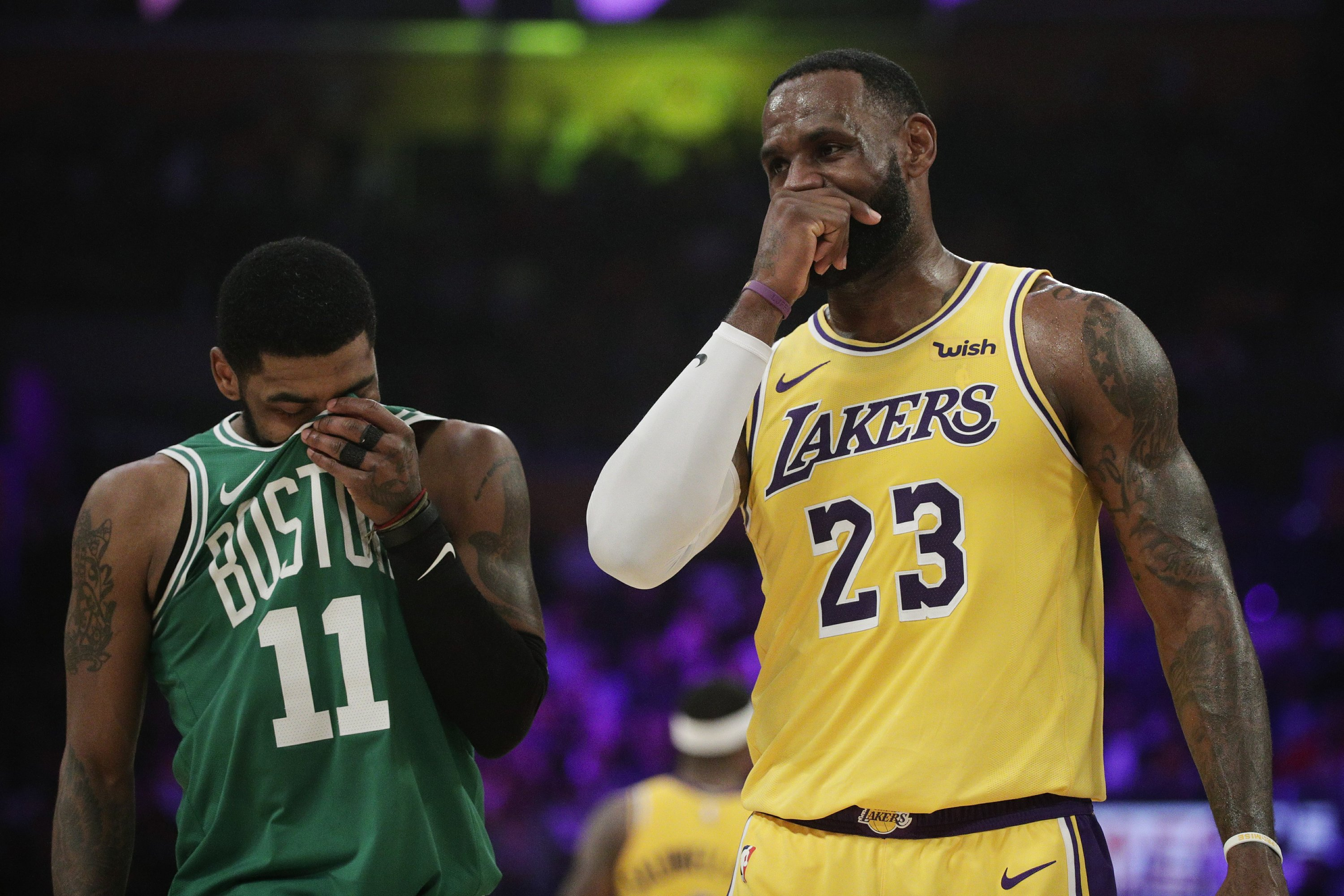 check out 6dceb 98d89 Kyrie's 30 propel Celtics past LeBron's Lakers, 120-107