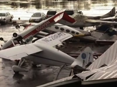 Raw: Severe Storm Wrecks North Carolina Airport