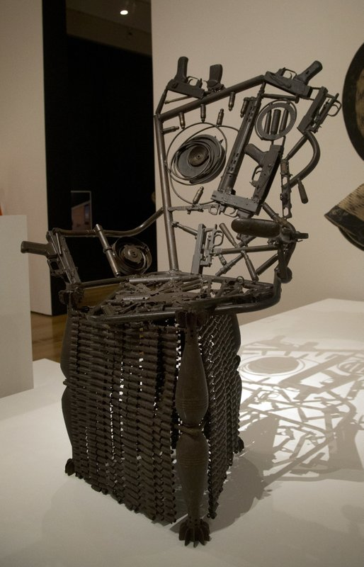 A chair made from weapons is shown at the high museum of art wednesday oct 11 2017 in atlanta making africa a continent of contemporary design opens