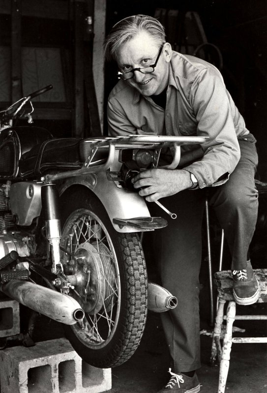 "This 1975 image released by William Morrow shows author Robert M. Pirsig working on a motorcycle. Pirsig, whose novel ""Zen and the Art of Motorcycle Maintenance"" became a million-selling classic after more than 100 publishers turned it down, died at his home in South Benwick, Maine on Monday, April 24, 2017. He was 88."