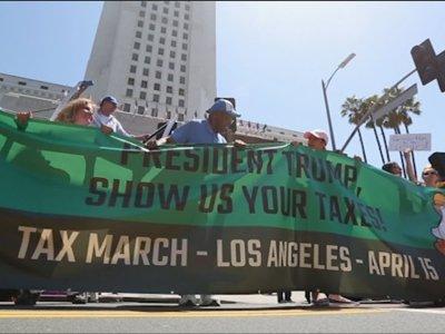 Raw: Tax Day Rallies Demand Trump's Tax Returns