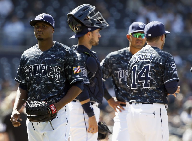 San Diego Padres starting pitcher Luis Perdomo, left, walks off the mound after being removed by manager Andy Green (14) with catcher Luis Torrens, second from left, and third baseman Luis Sardinas looking on during the sixth inning of a baseball game against the Miami Marlins in San Diego, Sunday, April 23, 2017. (AP Photo/Alex Gallardo)