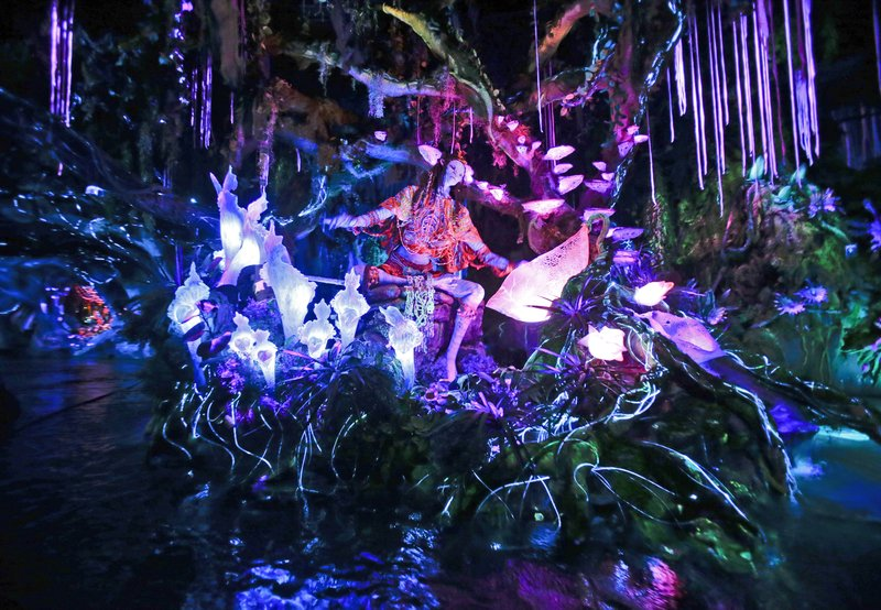 In This Saturday April 29 2017 Photo The Navi Shaman Of Songs Celebrates With Music River Journey Ride At Pandora World Avatar Land