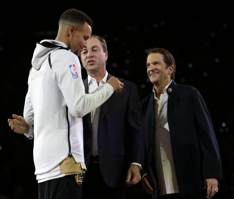 Stephen Curry, Joe Lacob, Peter Guber