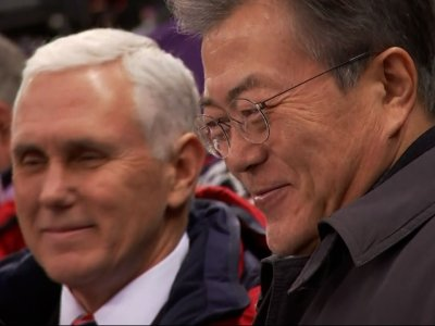 Pence and Moon Chat While Watching Speedskaters