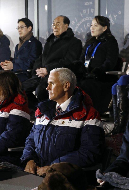 Mike Pence, Kim Yong Nam, Kim Yo Jong