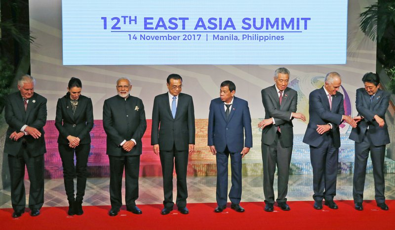 Rex Tillerson, Jacinda Ardern, Narendra Modi, Li Keqiang, Rodrigo Duterte, Lee Hsien Loong, Malcolm Turnbull, Shinzo Abe