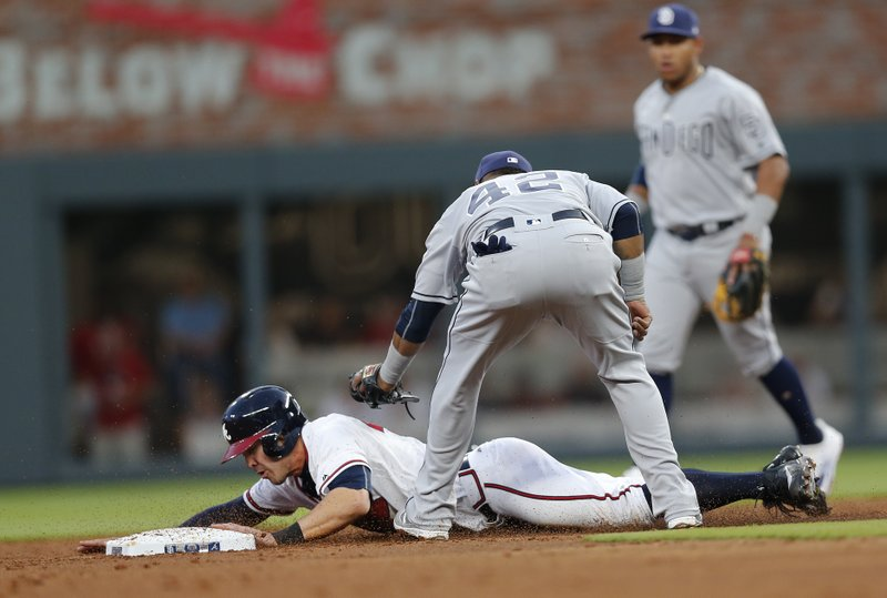 Atlanta Braves' Chase d'Arnaud (23) steals second base as San Diego Padres shortstop Erick Aybar (8) applies the late tag in the third inning of a baseball game, Saturday, April 15, 2017, in Atlanta. (AP Photo/John Bazemore)
