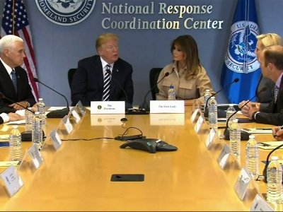 First Lady At Husband's Side During FEMA Meeting