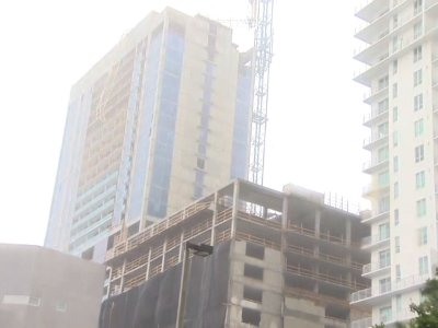 Irma winds collapse crane atop Miami high-rise