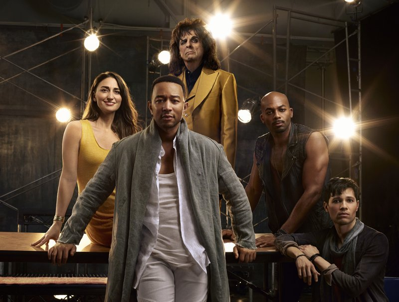 This image released by NBC shows, clockwise from foreground center, John Legend as Jesus Christ, Sara Bareilles as Mary Magdalene, Alice Cooper as King ...