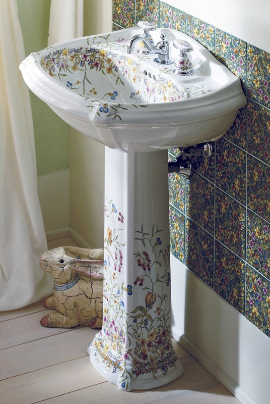 This Photo Provided By Kohler Shows One Of Their Prairie Flowers And  English Trellis Pedestal Sinks, Which Bring The Garden Indoors, To A Powder  Room Or ...