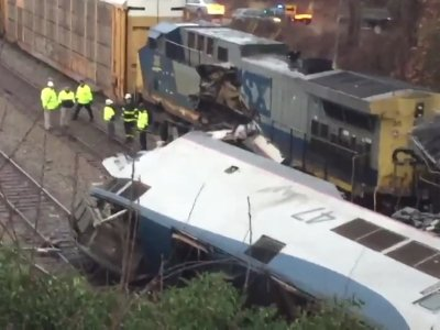 Raw: Wreckage of Amtrak Train Collision
