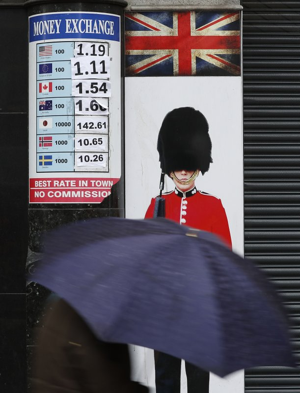 16 2017 File Photo A Pedestrian With An Umbrella Pes Board Showing The Exchange Rates At Money Bureau In London