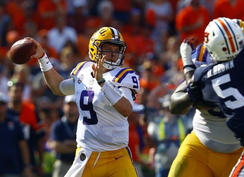 buy online d50d4 4fafc LSU quarterback Joe Burrow (9) throws a pass during the first half of an  NCAA college football game against Auburn, Saturday, Sept. 15, 2018, in  Auburn, ...