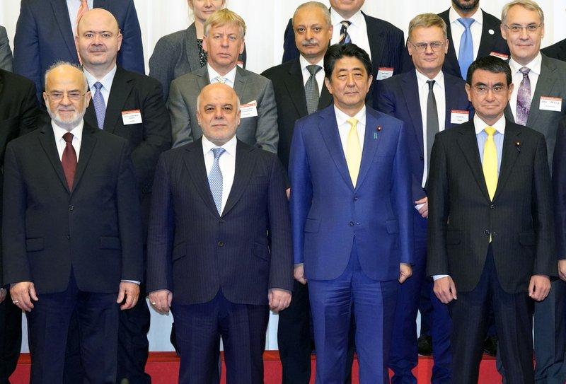 Haider al-Abadi, Ibrahim al-Jaafari, Shinzo Abe, Taro Kono