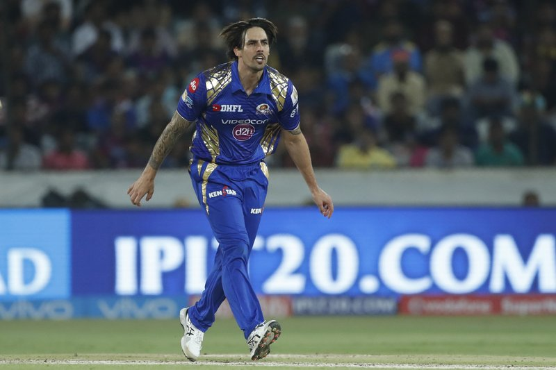 Mumbai Indians' Mitchell Johnson gestures after a delivery during the Indian Premier League (IPL) cricket final match against Rising Pune Supergiant in Hyderabad, India, Sunday, May 21, 2017.