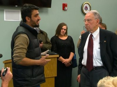 Grassley Faces Refugee at Town Hall