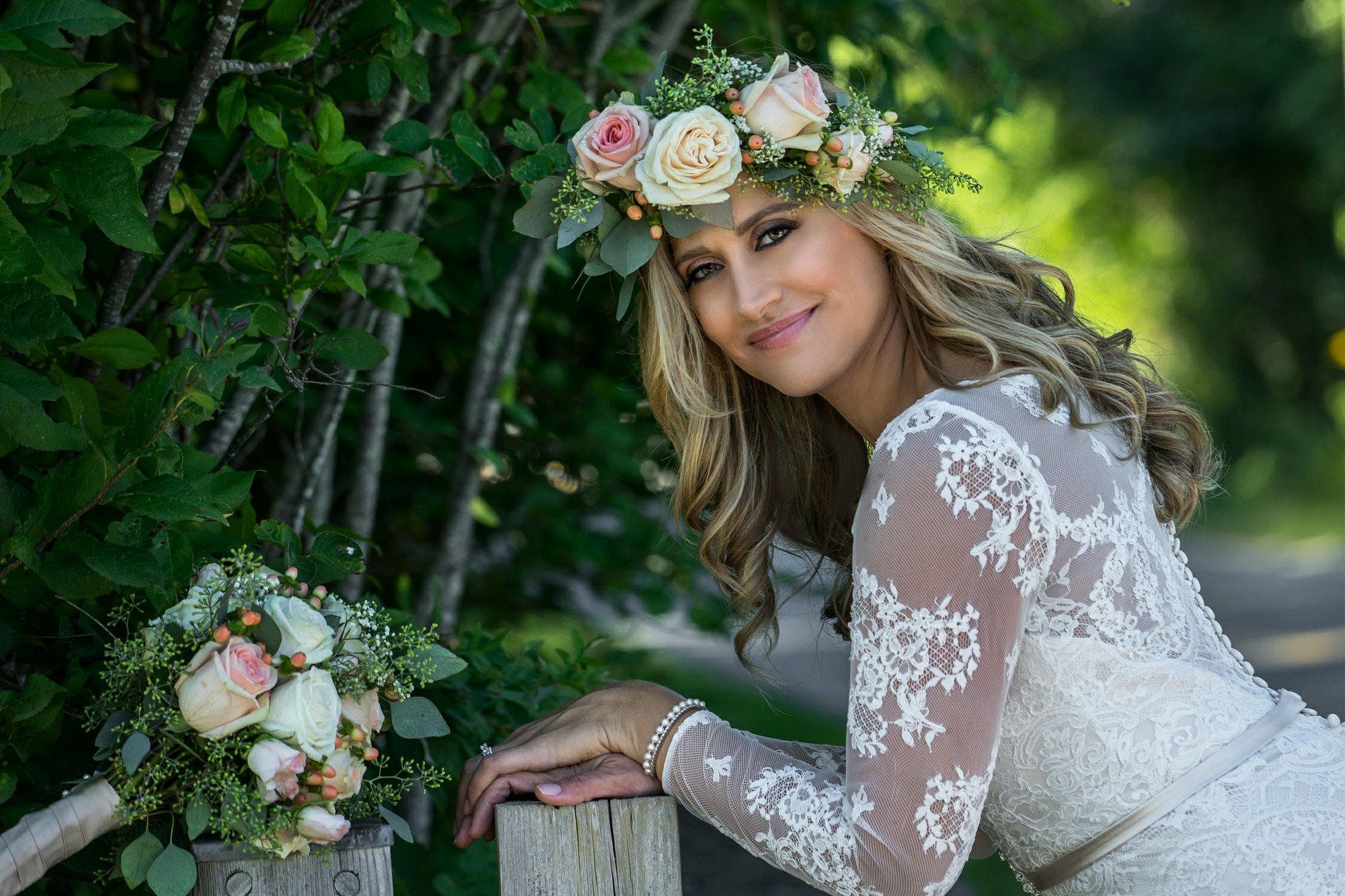 Headpieces a glamorous touch to help finish any bridal look 6 2015 photo provided by brielyn souza shows souza wearing a fresh floral crown on her wedding day in little compton ri bridal headpieces add a touch of izmirmasajfo