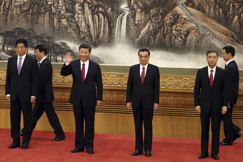 Han Zheng, Wang Huning, Li Zhanshu, Xi Jinping, Li Keqiang, Wang Yang