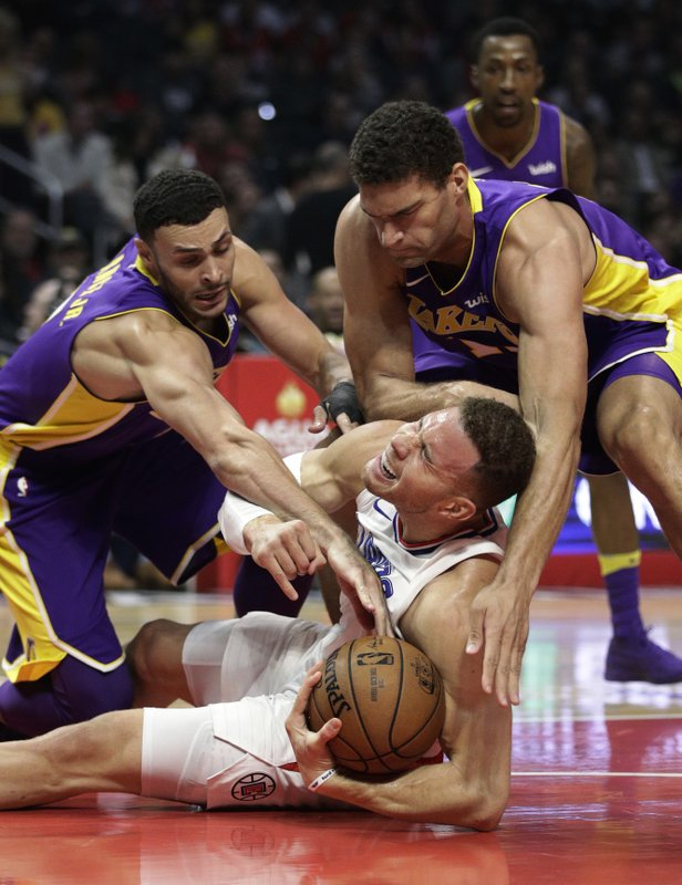 Larry Nance Jr., Brook Lopez, Blake Griffin