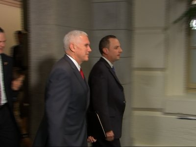 Raw: Pence on Capitol Hill to Huddle with GOP