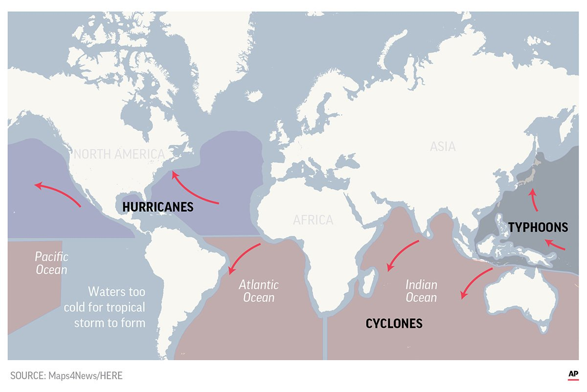 US hurricane, Asian typhoon: 1 brings water, the other, wind