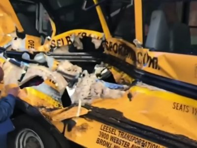 Dramatic Footage Shows Schoolbus Hit In Attack