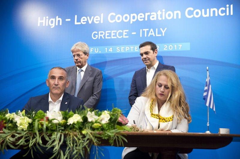 Alexis Tsipras, Paolo Gentiloni, lila Tsitsogianopoulou, Renato Mazzoncini
