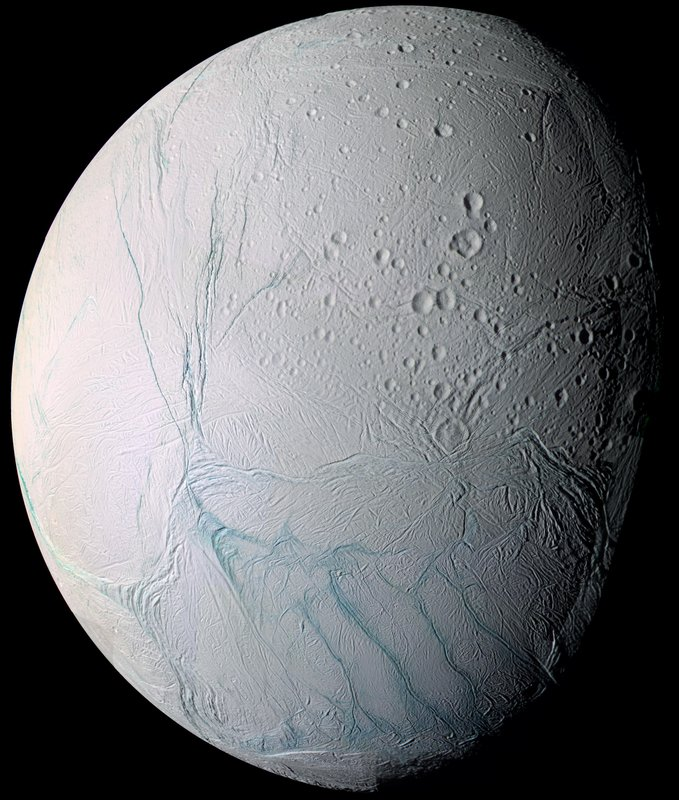 This June 28, 2009 image provided by NASA, taken by the international Cassini spacecraft, shows Enceladus, one of Saturn's moons. NASA's Cassini spacecraft has detected hydrogen molecules in the geysers shooting off the ice-encrusted ocean world, possibly the result of deep-sea chemical reactions between water and rock that could spark microbial life, according to findings announced Thursday, April 13, 2017 in the journal Science.