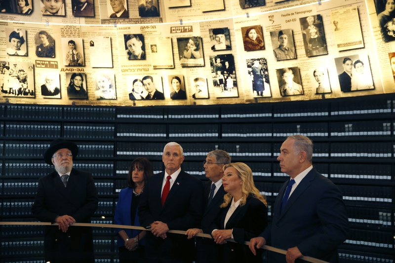 U.S. Vice President Mike Pence, wife Karen, Chairman of the Yad Vashem Council Rabbi Israel Meir Lau, Chairman of Yad Vashem Avner Shalev, Mike Pence