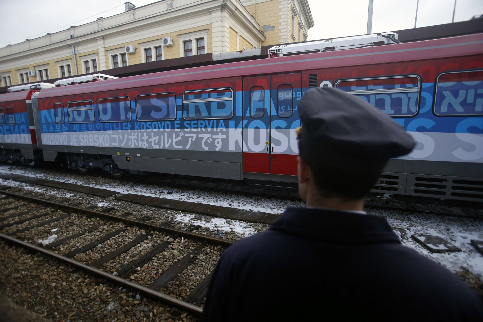 Tensions flare as Serb nationalist train halts at border