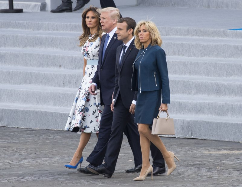Donald Trump, Emmanuel Macron, Brigitte Macron