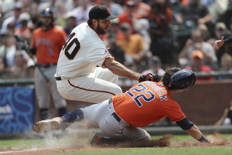 Madison Bumgarner, Josh Reddick, Houston Astros vs San Francisco Giants