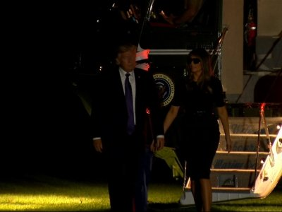Raw: Trump Returns to WH Following Vegas Visit