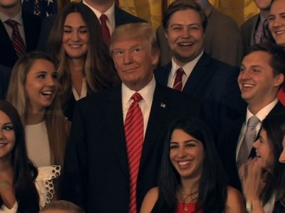 Trump Scolds Press During Intern Photo-Op