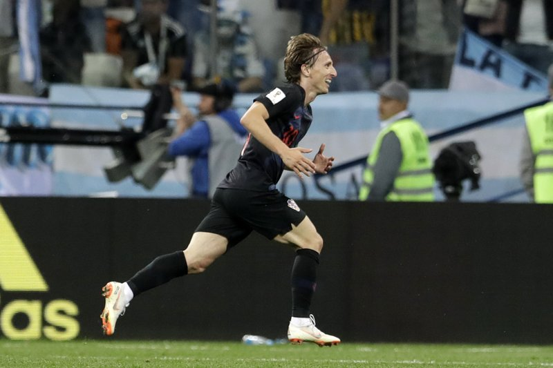 Croatia's Luka Modric celebrates after scoring his side's second goal during the group D match between Argentina and Croatia at the 2018 soccer World Cup in Nizhny Novgorod Stadium in Nizhny Novgorod, Russia, Thursday, June 21, 2018.