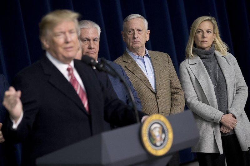 Donald Trump, Rex Tillerson, Jim Mattis, Kirstjen Nielsen