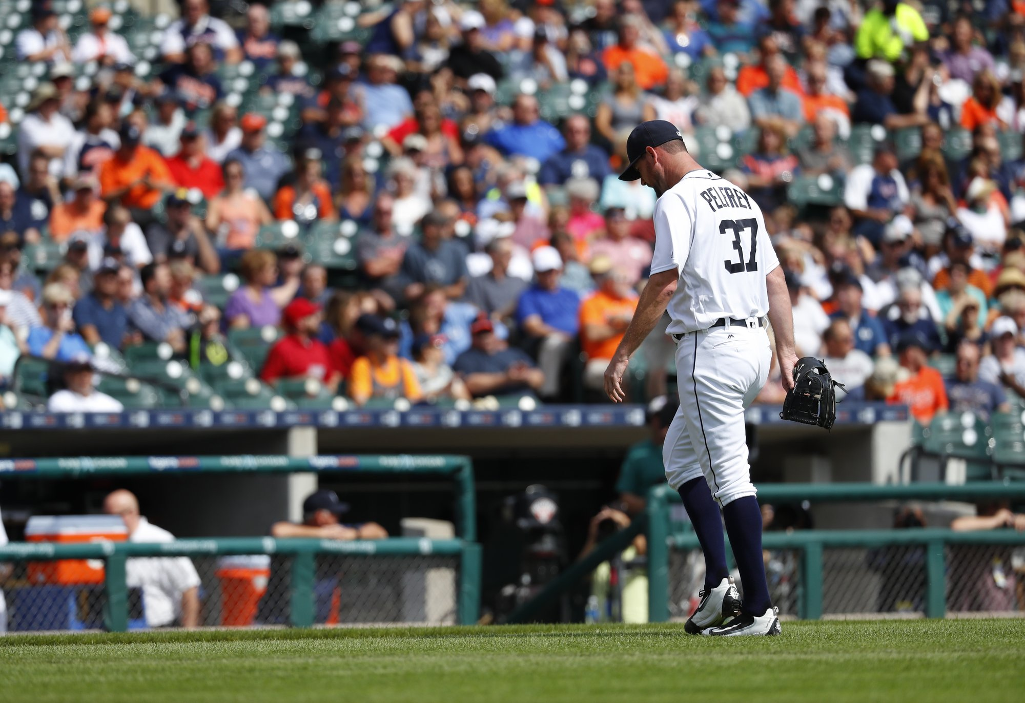 Detroit Tigers pitcher Mike Pelfrey walks to the dugout after being  relieved in the second inning of a baseball game against the Minnesota  Twins in Detroit 228586d842ca
