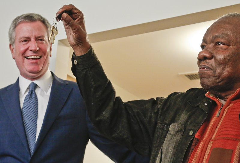 Jasper Hurst, 79, Right, Show Keys He Received From Mayor Bill De Blasio,  Left, After He Signed A Lease Inside His New Affordable Apartment, Tuesday  Jan.