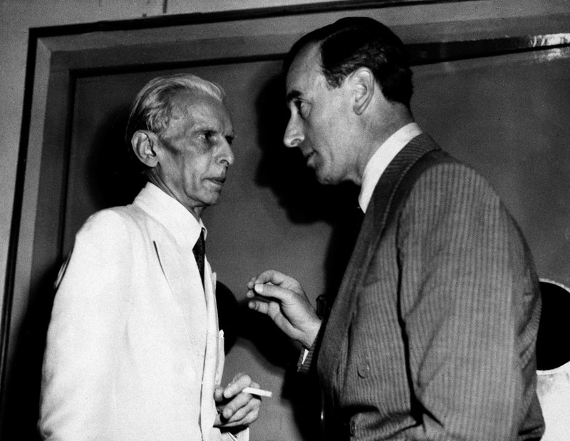 In this June 10, 1947 file photo, Viceroy of India Lord Louis Mountbatten, right, speaks with Muslim League leader Muhammed Ali Jinnah during conferences on India's division in New Delhi. Jinnah appealed to Indians to carry out peacefully the British plan for dividing the country. The Muslim League formally adopted the plan on the night of June 9. As the 70th anniversary of India-Pakistan Partition comes up next week, relations between the two nations are as broken as ever. In some ways, their violent birth pangs dictated their future course through suspicion and animosity.