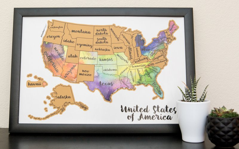 The quest to visit all 50 states how many have you seen this undated photo provided by alyssa kauanoe of suade llc shows one of their jetsettermaps scratch your travels usa map partially scratched off gumiabroncs Choice Image