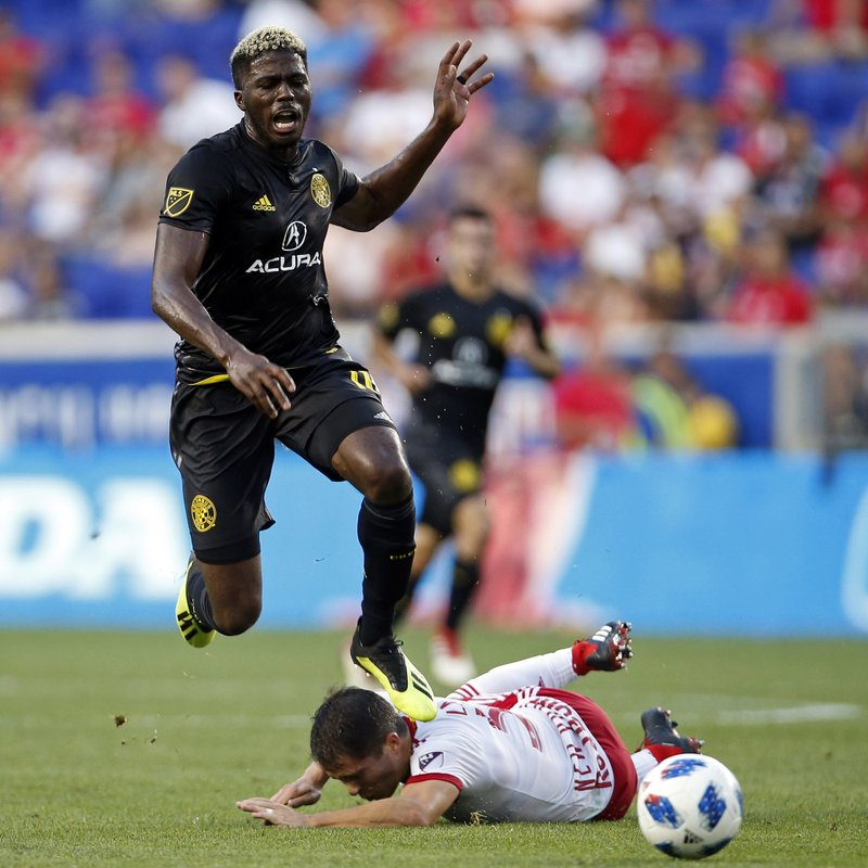 Columbus Crew Forward Gyasi Zerdes (11) Avoids New York Red Bulls Defender  Connor Lade (5) During The First Half Of An MLS Soccer Match On Saturday,  ...