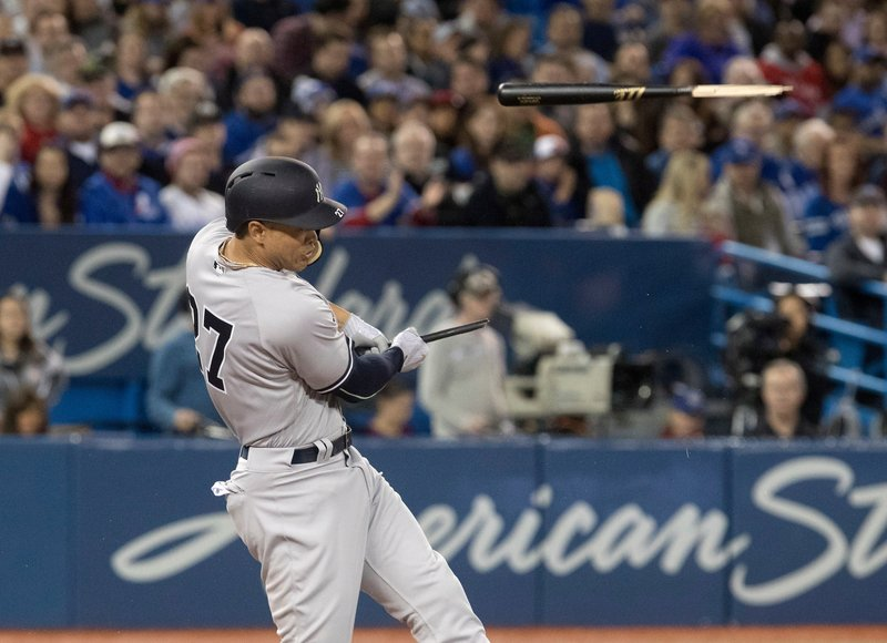 New York Yankees Giancario shatters his bat on contact in the sixth inning.