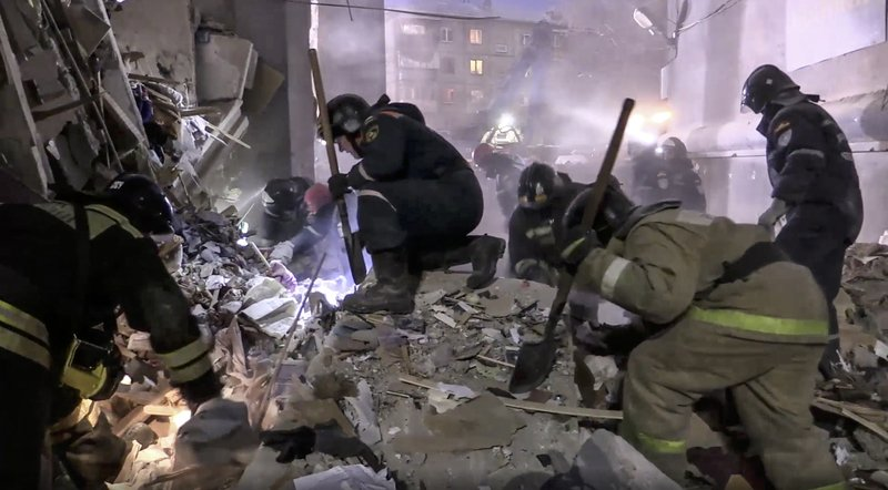 The Latest: Deaths from Russia apartment collapse grow to 33