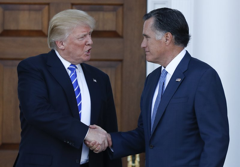 Now a candidate, Romney appears to embrace Trump presidency