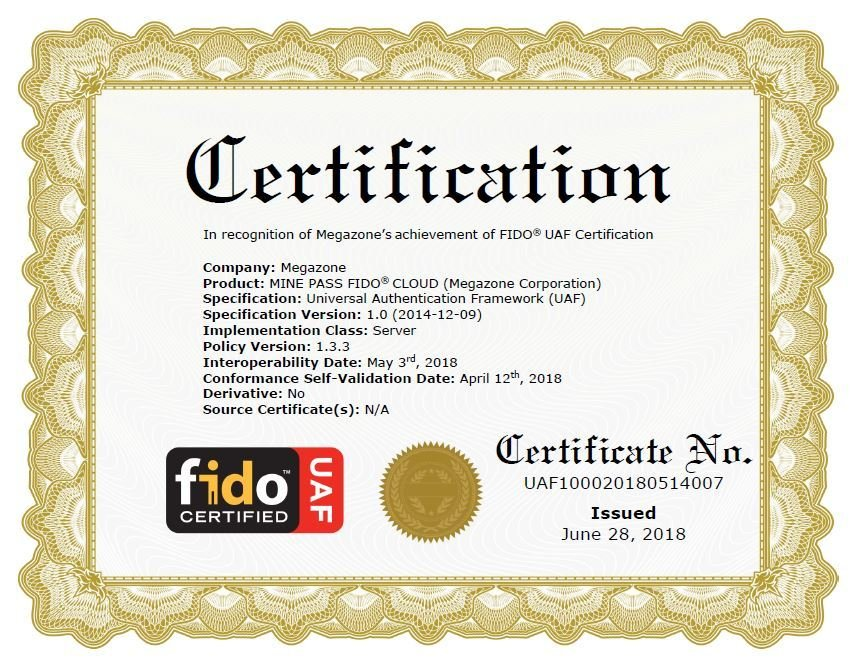 Megazone's Biometrics Solution MINE PASS to Have Acquired Official FIDO Certification™ from FIDO Alliance, a Global Organization for Standards-Based Interoperable Authentication