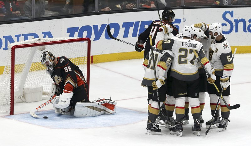 Vegas Golden Knights Celebrate A Goal As Anaheim Ducks Goalie John Gibson  (36) Collects The Puck During The Third Period Of An NHL Hockey Game In  Anaheim, ...