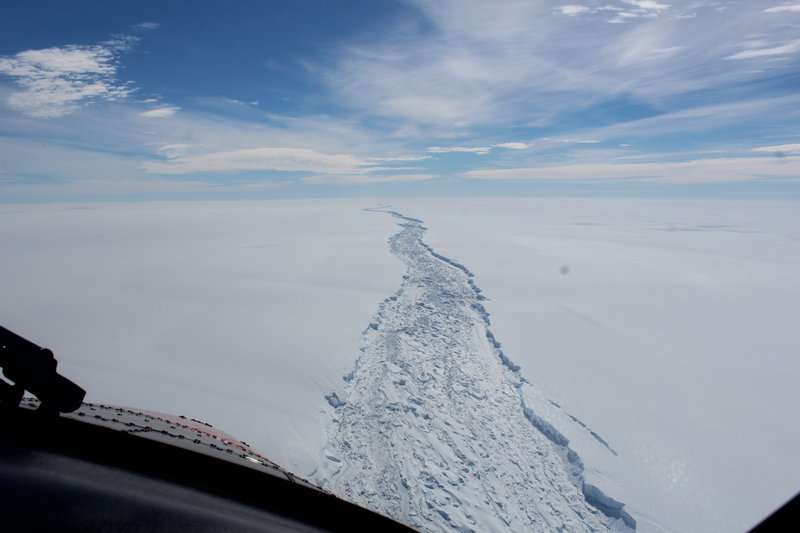 This is a Feb. 2017 image of the Larsen C ice shelf in Antarctica made available by the Antarctic Survey on Wednesday July 12, 2017. A vast iceberg with twice the volume of Lake Erie has broken off from a key floating ice shelf in Antarctica, scientists said Wednesday. The iceberg broke off from the Larsen C ice shelf, scientists at the University of Swansea in Britain said. The iceberg, which is likely to be named A68, is described as weighing 1 trillion tons (1.12 trillion U.S. tons).