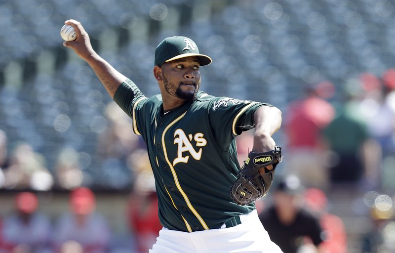7f68464a1a5 Oakland Athletics starter Raul Alcantara throws to the Los Angeles Angels  during the first inning of a baseball game Monday